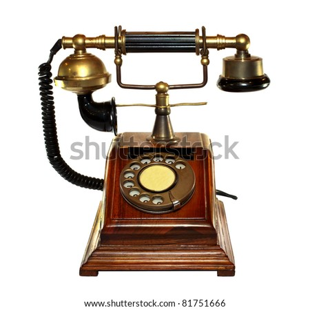 vintage gold wood box analog telephone isolated on white background with work paths