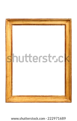vintage  golden frame isolated on white background - stock photo