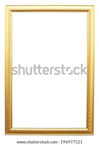 Vintage golden frame with blank space isolated