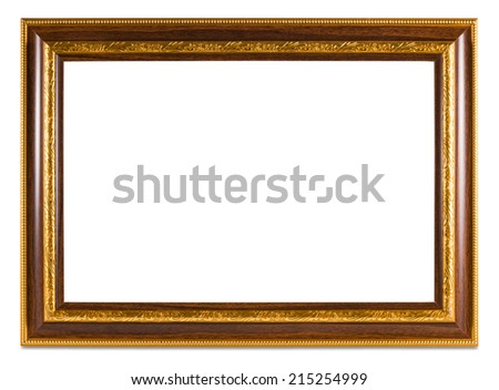 Vintage Golden frame with empty space isolated on white background.  - stock photo