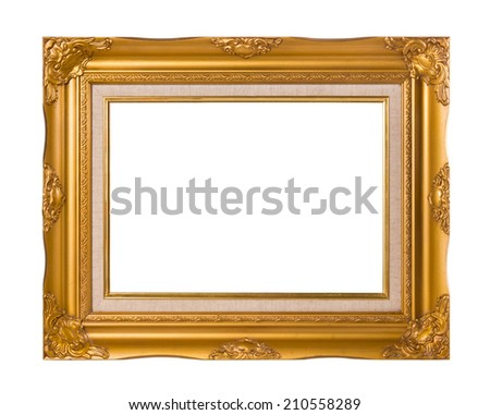 Vintage Golden frame with empty space isolated on white background. Include clipping path. - stock photo