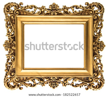 Vintage Golden Picture Frame Isolated On Stock Photo & Image ...