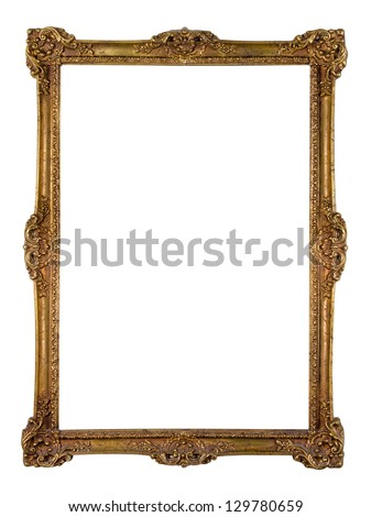 Vintage golden picture frame isolated over white (clipping path included) - stock photo