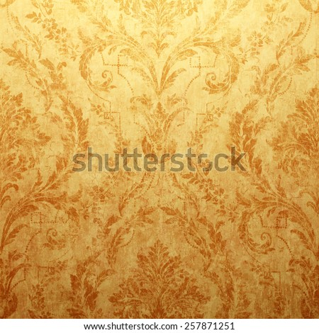 Vintage golden run-down victorian wallpaper with baroque vignette, Square toned image - stock photo