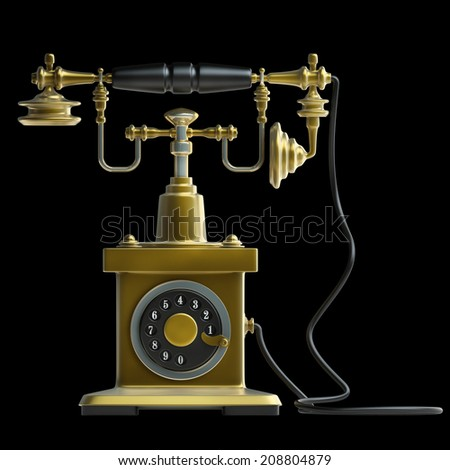 Vintage golden Telephone isolated on black background High resolution 3d  - stock photo