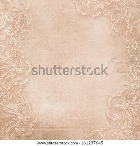 Vintage gorgeous  background with lace and pearls - stock photo