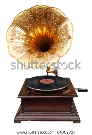 Vintage gramophone - stock photo