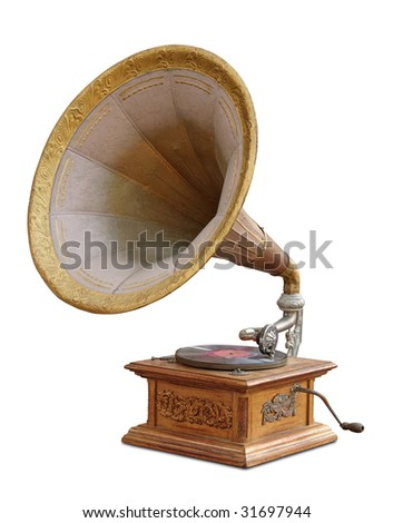 vintage gramophone isolated - stock photo