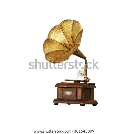 Vintage gramophone on white isolated background. - stock photo