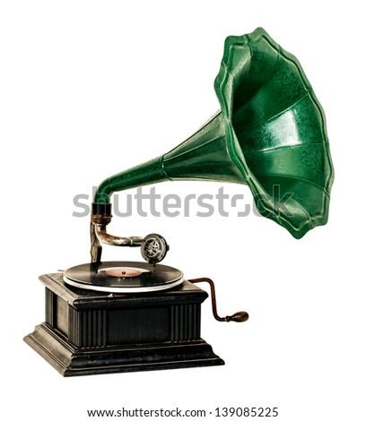 Vintage gramophone record player - stock photo