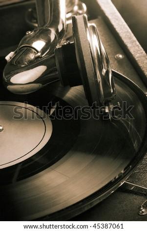 Vintage gramophone. Sepia toned - stock photo