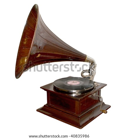 vintage gramophone with an angel on the horn isolated on white background - stock photo