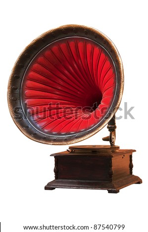 Vintage gramophone with horn speaker for playing music over plates isolated on white - stock photo