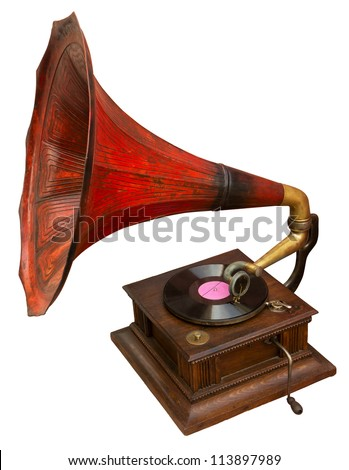 Vintage gramophone with red horn. Clipping path included. - stock photo