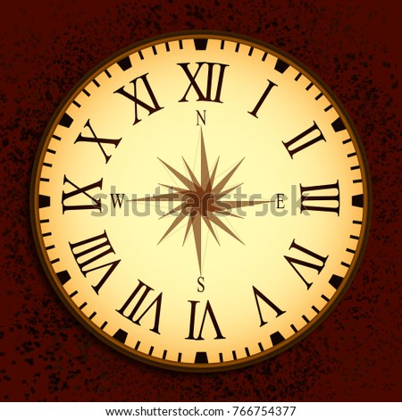 Vintage Graphic Clock Illuatration With Compass On Clockface And Roman Numbers Red Textured Background