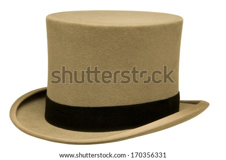 Vintage gray top hat against white background - stock photo