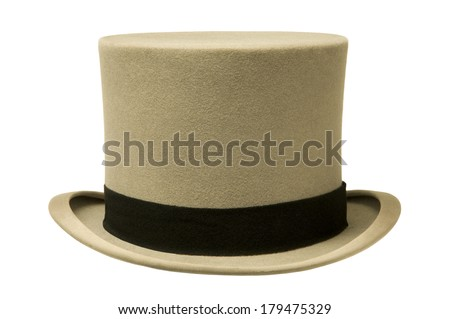Vintage gray top hat against white background