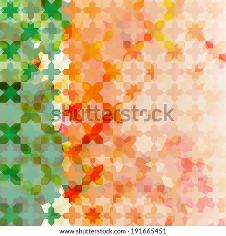 Vintage green and orange defocused background with geometric ornament. Raster version - stock photo
