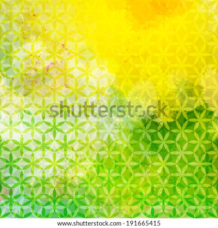 Vintage green and yellow defocused background with geometric triangular ornament. Raster version - stock photo