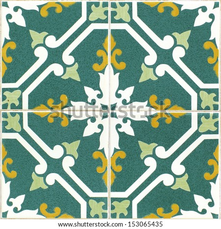 vintage green and yellow portuguese tiles - stock photo