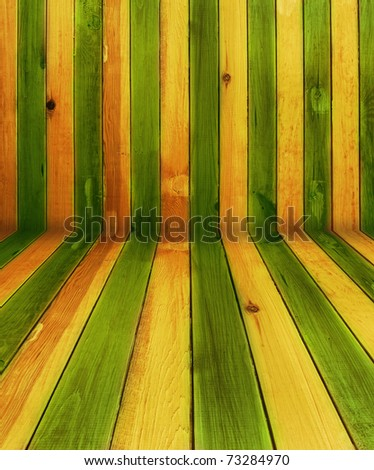 vintage green and yellow wooden background - stock photo