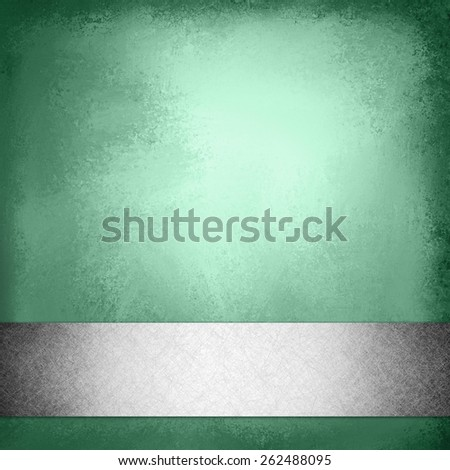vintage green background with silver gray ribbon trim on bottom border, elegant fancy layout template design, green brochure or web design with footer bar or stripe with faint shadow effect - stock photo