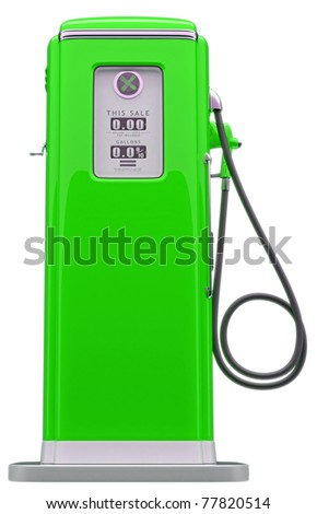 Vintage green fuel pump isolated over white background. Side view - stock photo