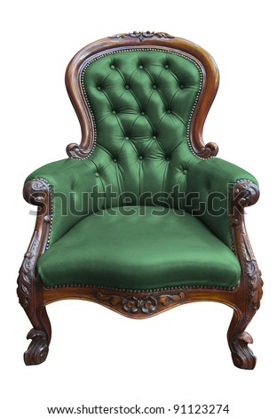 vintage green leather armchair on white with clipping path - stock photo