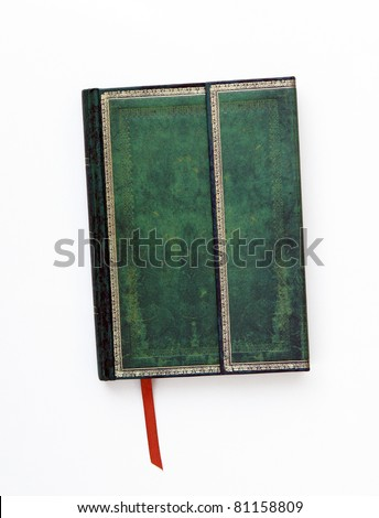 Vintage Green Leather Journal Diary with Gold Trim and Orange Page Marker isolated on white background - stock photo