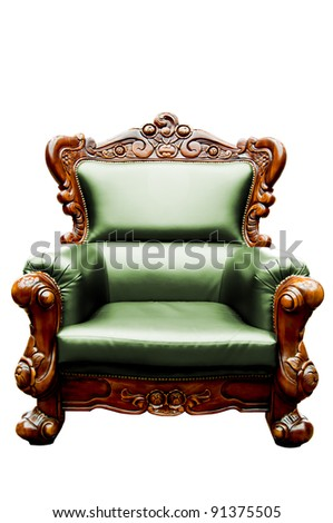 vintage green  luxury leather armchair isolated - stock photo