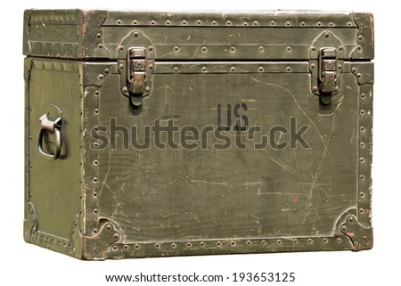 vintage green military chest isolated on white - stock photo