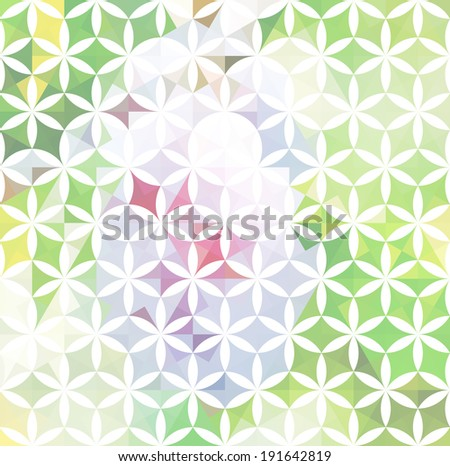 Vintage green minimalistic background with geometric floral ornament. Raster version - stock photo