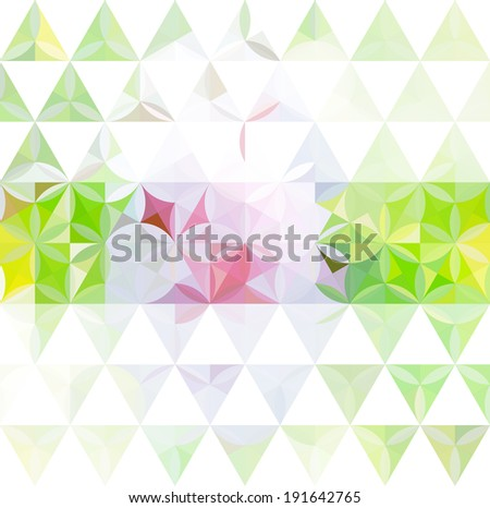 Vintage green minimalistic background with geometric triangular ornament. Raster version - stock photo