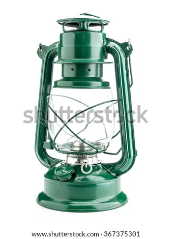 Vintage green oil lamp on white background - stock photo