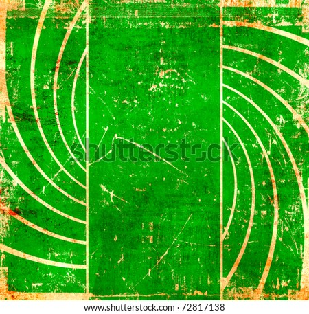 Vintage green swirl background - stock photo