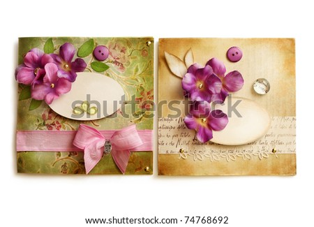 vintage greeting card or frames - stock photo