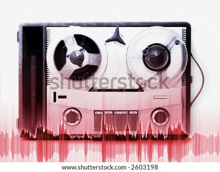 vintage grey analog recorder reel to reel - stock photo
