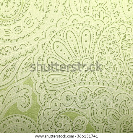 Vintage grey and green wallpaper with paisley pattern, toned image - stock photo
