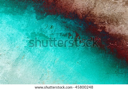 Vintage grey-turquoise wall can be used as background. - stock photo