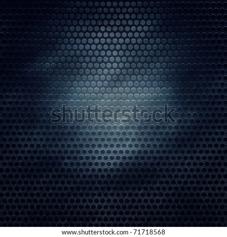 Vintage grill metal hole on grunge canvas texture - stock photo