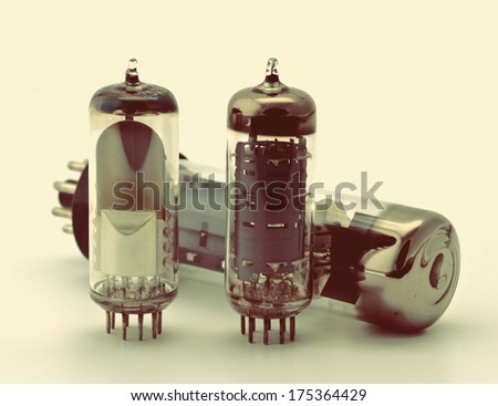vintage group of electronic valves - stock photo