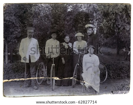 Vintage group photo with bicycles  (Russia, end of 19th century) - stock photo