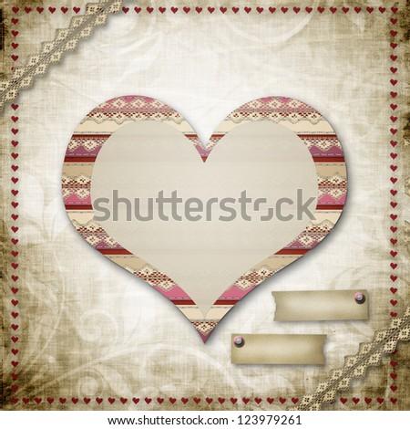 Vintage grunge background to a festive Valentine's Day or Wedding - stock photo