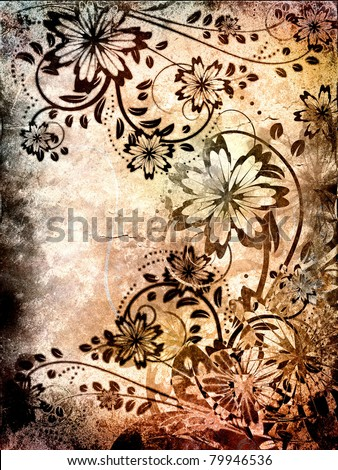 vintage grunge background with floral pattern - stock photo