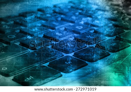 Vintage grunge background with keys of notebook keyboard - stock photo