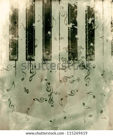 Vintage grunge background with rose and music notes. - stock photo