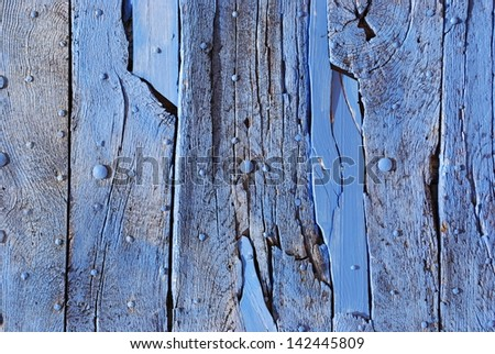 Vintage grunge blue wood wall texture background - stock photo