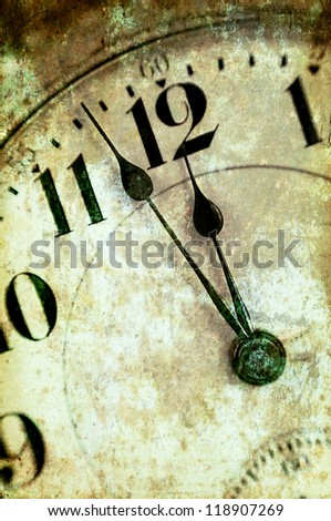 Vintage Grunge Clock Face Closeup, Antique Photo Look - stock photo