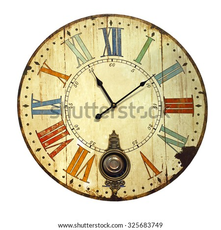 Vintage Grunge Clock Isolated Included Clipping Path - stock photo