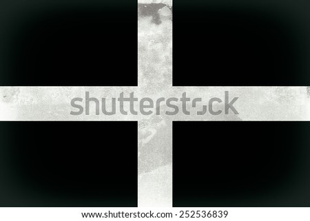 Vintage, grunge effect Cornwall Flag also known as St Piran's Flag - stock photo